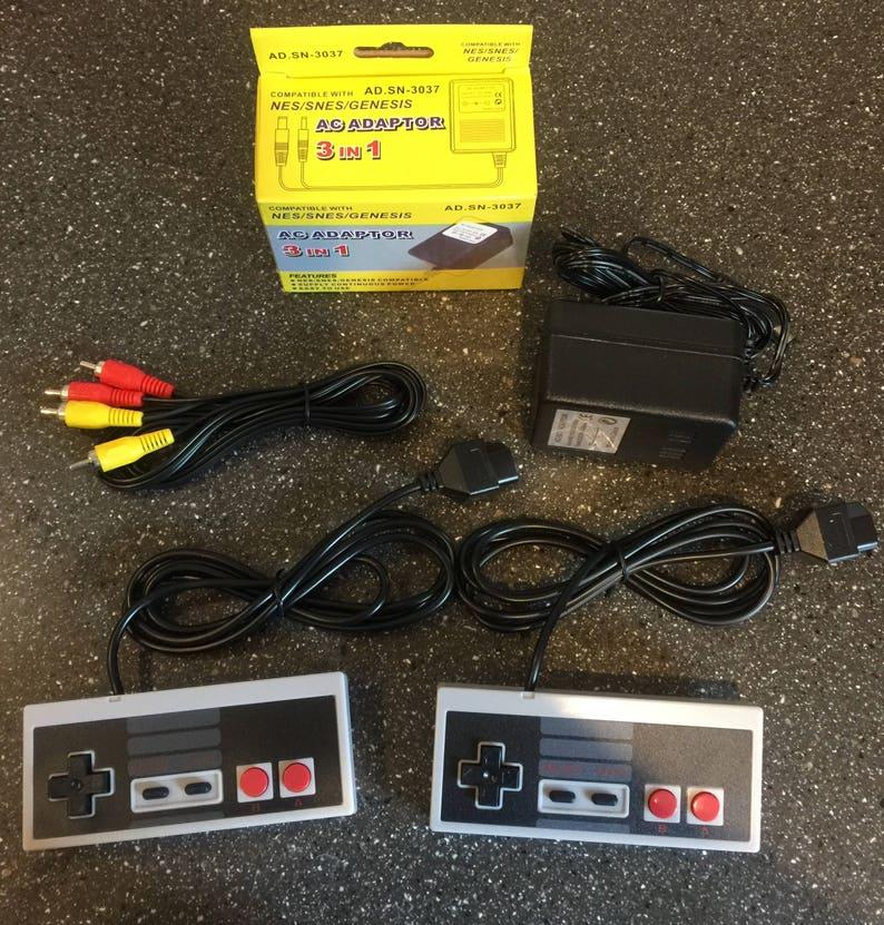 New Original Nintendo NES System Power Supply + 2 Controllers + A/V AV  Audio Video Cable Output