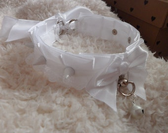 White pleated ribbon collar with spikes. ribbon choker-  kitten play, pastel goth choker. kittycandyshop