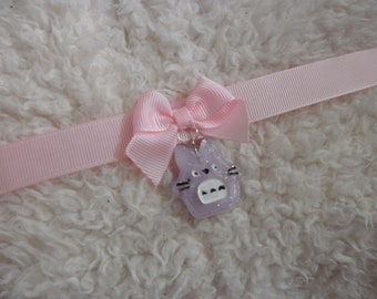 Pink ribbon choker with totoro charm! super simple cute choker (kitten play, pastel goth choker. kittycandyshop)