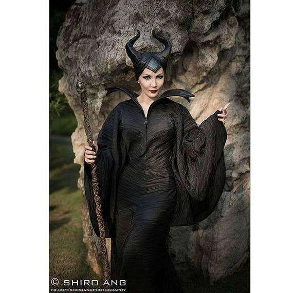 Movie Maleficent Dress Horns And Pikestaff Handmade Fantasy Cosplay Costume