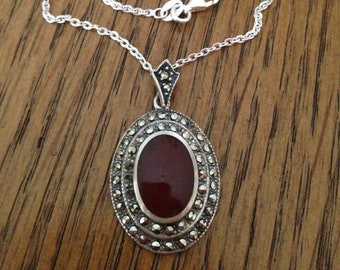 Sterling Silver Carnelian and Marcasite Necklace