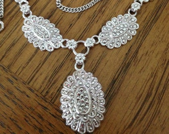 Sterling Silver and Marcasite Y Necklace