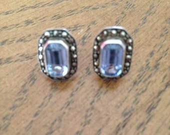 Sterling Silver Marcasite and Blue Topaz Earrings