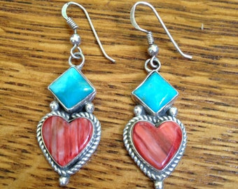 Turquoise and Red Jasper Sterling Silver Earrings