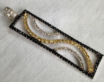 Sterling Silver Black, Gold and White Zircon Pendant