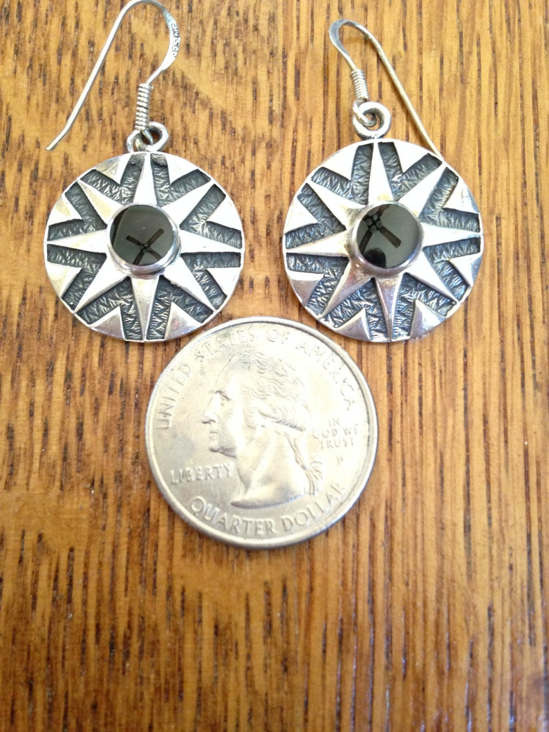 Sterling Silver and Onyx Round Star Drop Earrings