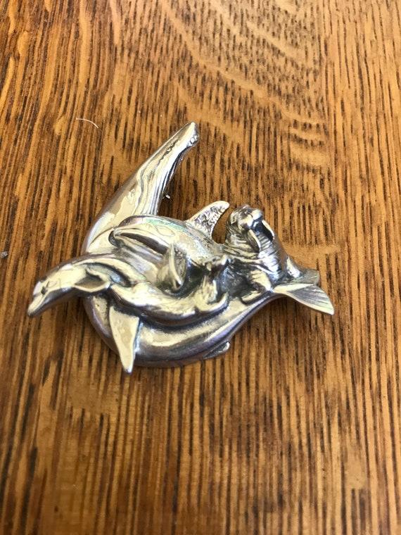 Dophin mammal sterling silver charm vintage # 464