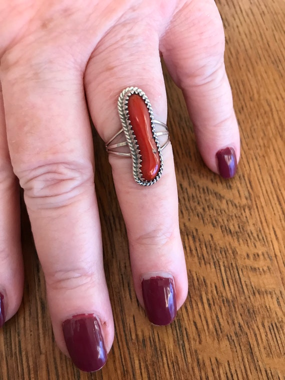 Native American Old Pawn Silver and Red Coral Ring