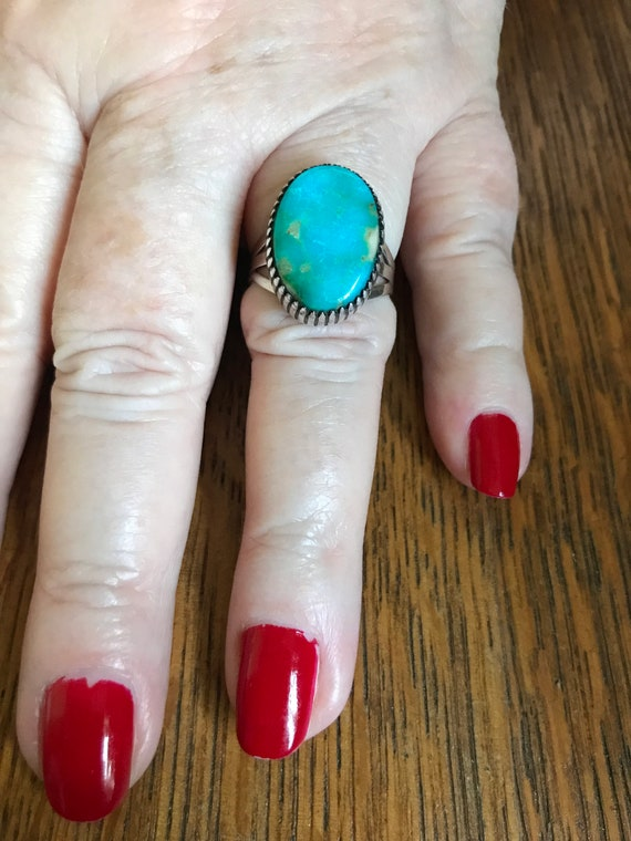 Native American Old Pawn Silver and Turquoise Ring