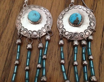 Native American Sterling Silver Turquoise Beaded Dangle Drop Earrings