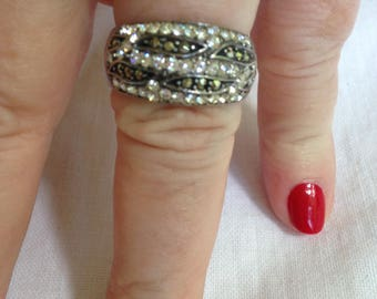 Sterling Silver White Zircon and Marcasite Band Ring