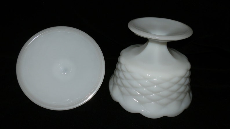 Candy Dish Indiana Glass Vintage Scalloped Diamond Point Pedestal Covered Milk Glass