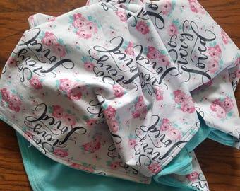 So Very Loved Blanket, Floral Blanket, Teal Blanket, Modern Blanket, Girl Nursery