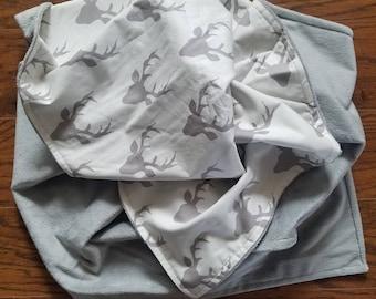 Woodland Nursery Bedding, Deer Antler Blanket, Baby Blanket, Buck Forest Blanket, Deer Antler, Hello Bear Collection