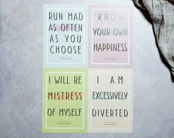 Jane Austen Minimalist Literary Quote Wall Art Prints Set - pride and prejudice literary gifts for book lovers cubicle decor typography art