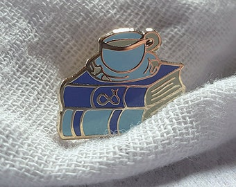 Tea and Book Lovers Enamel Pin - book lover gift mothers day gift bookish pin bookworm for her tea lover gift literature jewellery literary