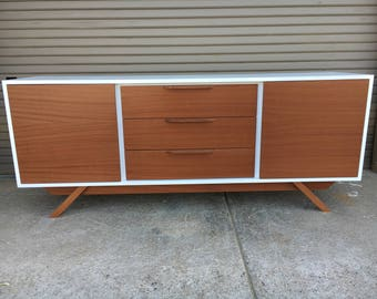 NEW Hand Built Mid Century Inspired Buffet / Credenza / TV Stand. White & Mahogany 3 Drawer and 2 Doors.  Angled Leg Base!
