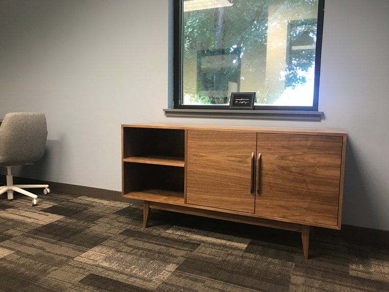 New Hand Built Mid Century Style Tv Stand Credenza Buffet 60 Walnut Two Door W Shelf And Straight Leg Base