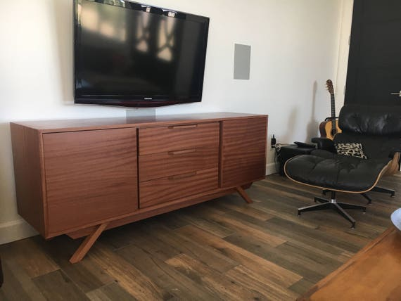 New Hand Built Mid Century Style Buffet Credenza Tv Stand Etsy