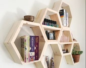 Hexagon shelves on wall Honeycomb for bathroom nursery shelf decor wood home wall art decor all natural without brackets white