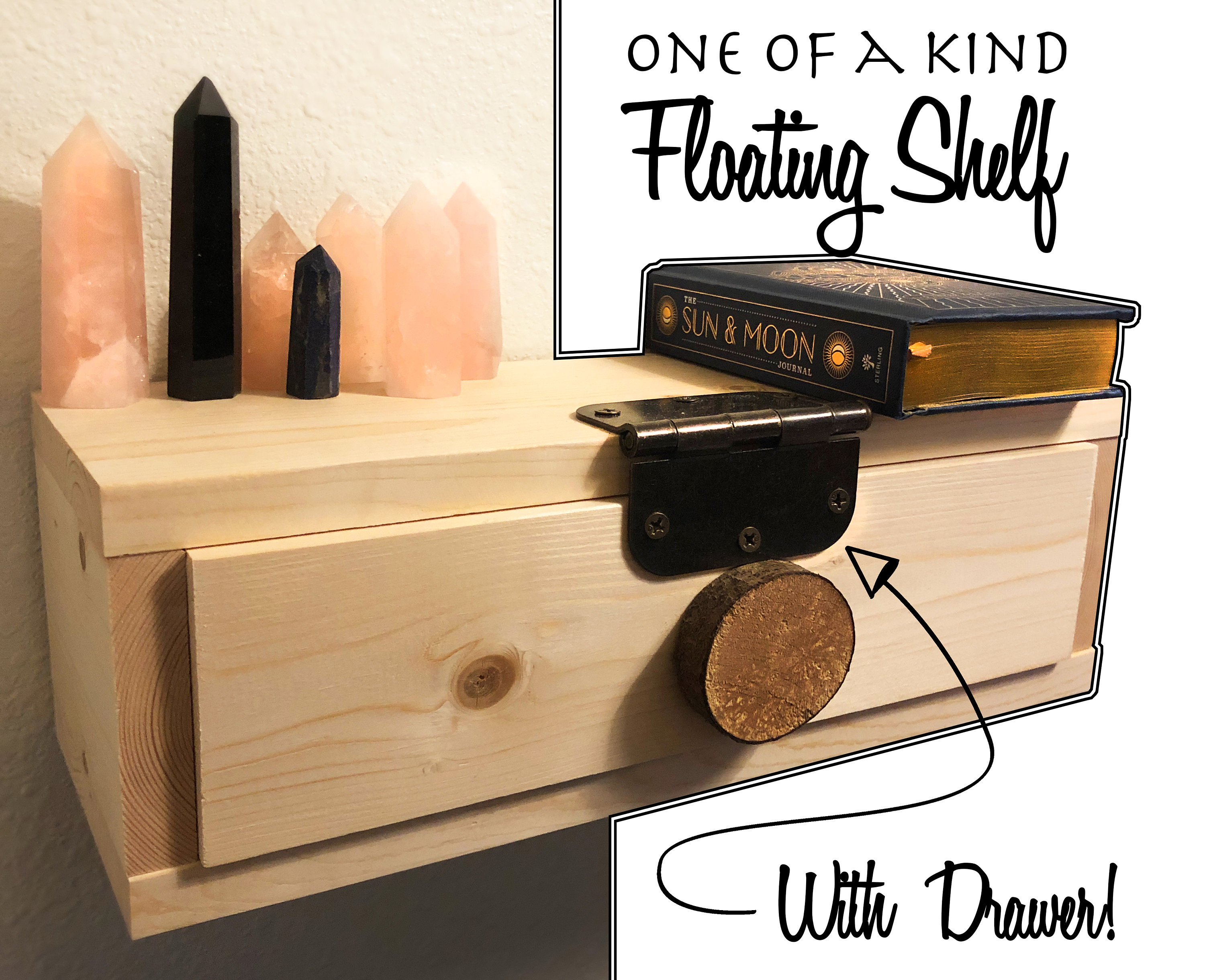 One Of A Kind Floating Shelf With Drawer Floating Nightstand With Drawer Industrial Decor Branch Tree Rustic Decor Floating Shelves