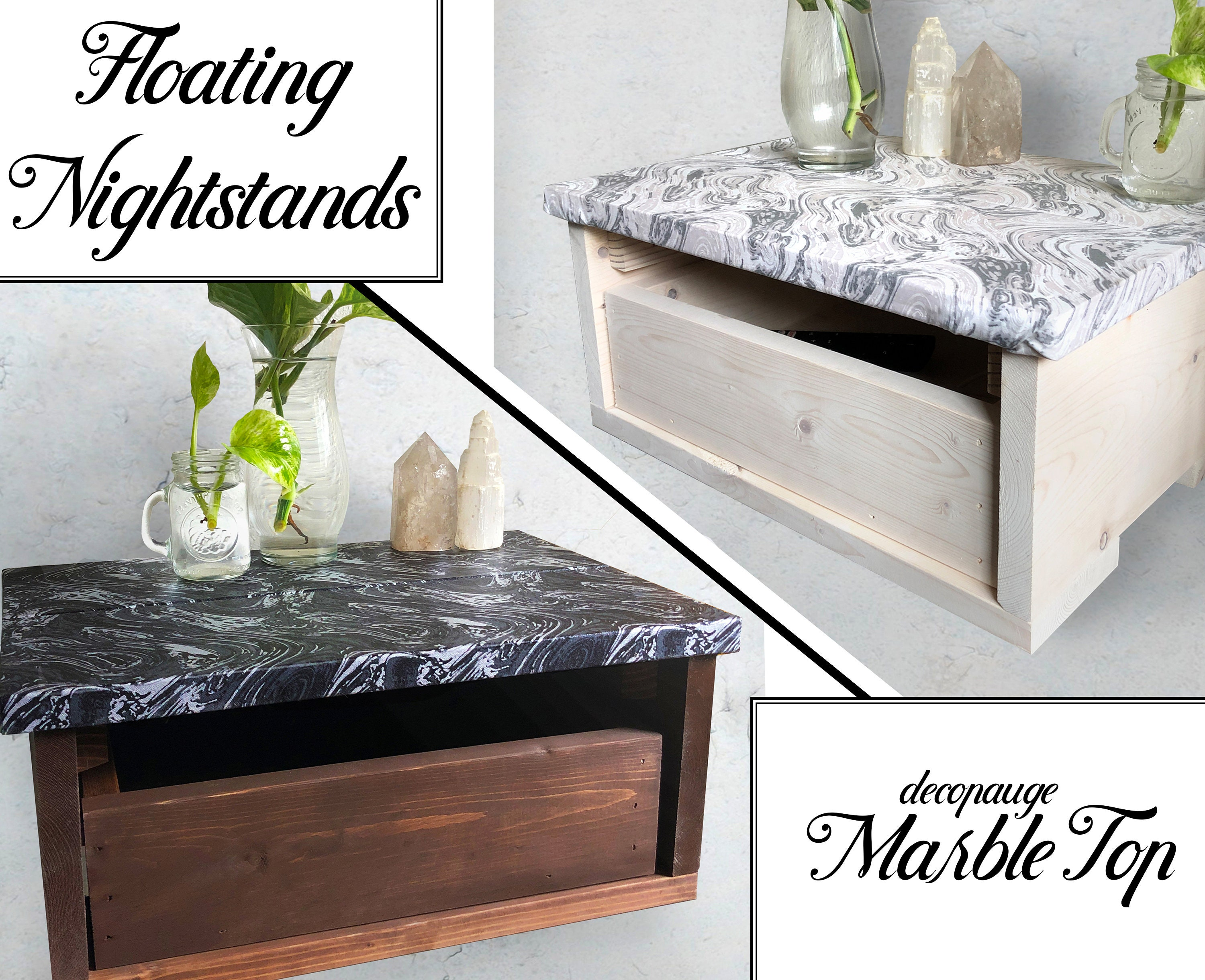 Floating Nightstands Marble Top Floating Shelf Floating Shelves Floating Bedside Table Floating Nightstand White Floating Drawer Large