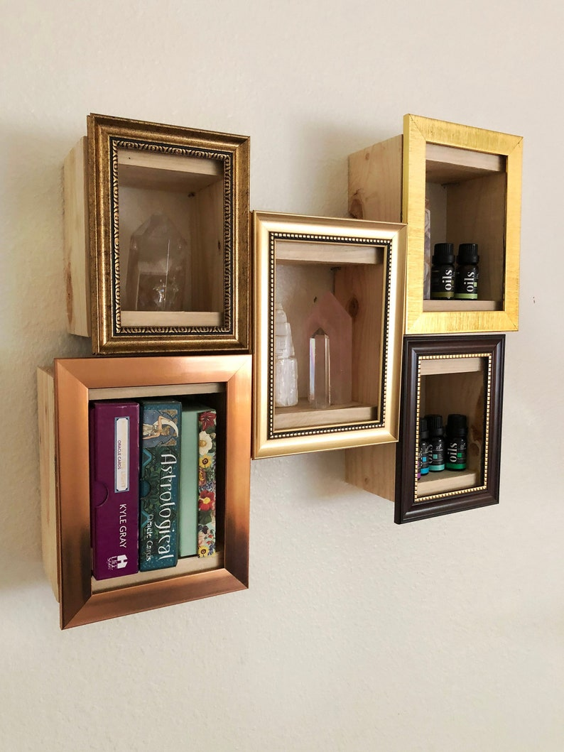 Set Of 5 Picture Frame Cube Storage Display Floating Shelf Organizer Gifts Wood Box Wall Home Decor Nursery Bathroom Bedroom Rustic Floating