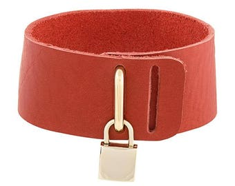 Padlock Choker Necklace - Red Leather