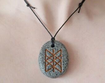 Necklace with pendant: Web of Wyrd / Skuld's net (Icelandic runes, magical staves, Ásatrú, vikings, amulet)
