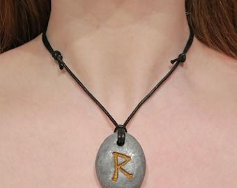 Necklace with pendant: Raidho (Icelandic runes, magical staves, Ásatrú, vikings, amulet)