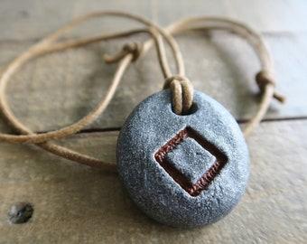 Necklace with pendant: Inguz (Icelandic runes, magical staves, Ásatrú, vikings, amulet)