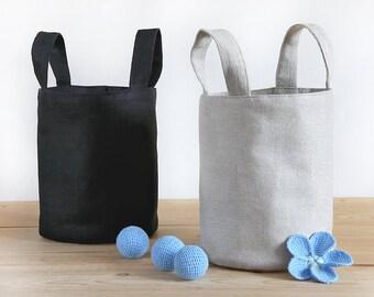 Linen storage basket, Storage bin with handles, Linen organizer bin, Home storage basket, Basket container