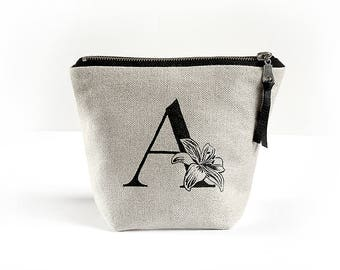 Monogrammed linen cosmetic bag with lily print, Initial Cosmetic bag with flower, Personalized makeup bag, Cosmetic Pouche with monogram