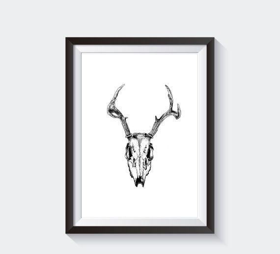 Deer skull printable wall art deer skull line art pagan wall | Etsy