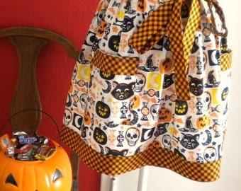 Vintage Inspired Halloween Print Half Apron with Cats, Bats, Skulls, Pumpkins and More