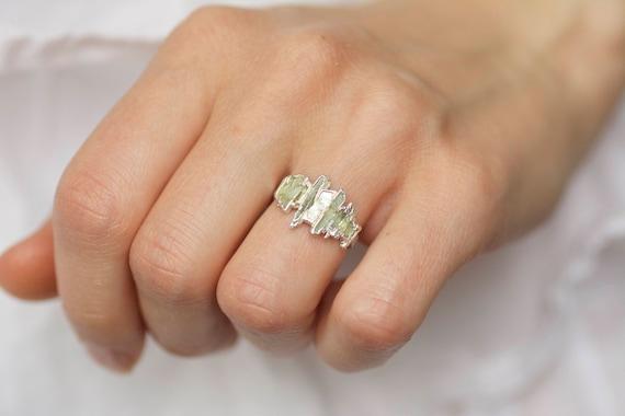 Green Kyanite Shield Ring Kyanite Stacking Ring Rough Green Kyanite Ring. Raw Kyanite Ring Kyanite Shield Ring