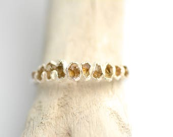Raw Citrine Band Ring. Raw Citrine Ring. Citrine Ring. Citrine Wedding Band. Silver Citrine Ring. November Birthstone Ring.