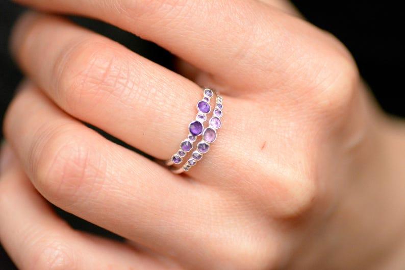 Silver Amethyst Band Ring Amethyst Band Ring Gold Amethyst Band Ring Amethyst Ring Amethyst Wedding Ring Natural Amethyst Ring