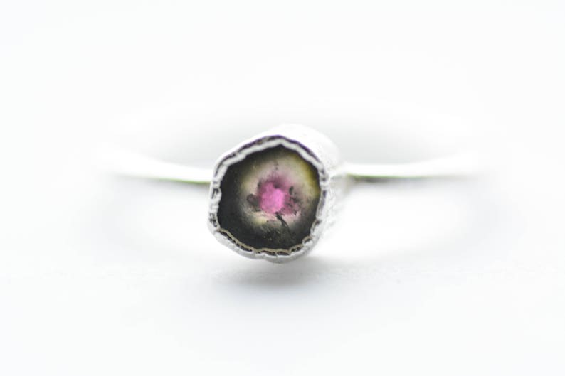 999 Pure Fine Silver Electroformed Pink and Green Raw Rough Watermelon Tourmaline Solitaire Slice Ring. US Size 5.25 READY to SHIP
