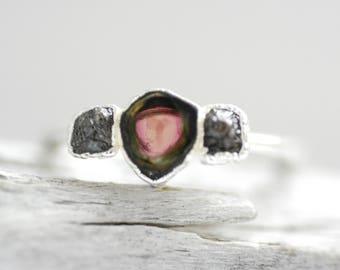 READY to SHIP. Watermelon Tourmaline and Brown Raw Diamond Engagement Ring. Tourmaline Engagement Ring. Raw Stone Engagement Ring