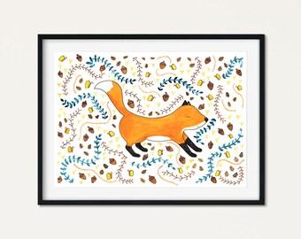 Fox Animal Wall Art - Woodland Fox Decor - Baby Fox Print Decor - Fox Nursery Woodland Creatures - Boho Chic Nursery Baby Fox Wall Art