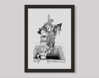 Witch Wall Art - Witchy Gift - Witch Artwork - Witchcraft - Fairytale Bedroom - Bookish Gift - Fairytale Print - Witch Gift Ideas