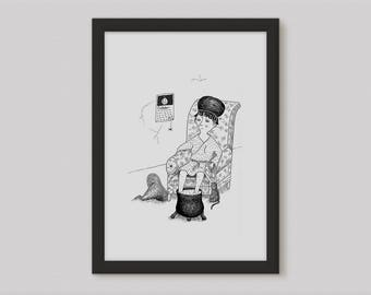 Witch Drawing - Witch Gift - Witch Wall Decor - Witchcraft - Halloween Witch Illustration - Witch Artwork Funny Witch - Witch Wall Art