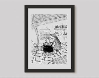 Witches Brew Print, witch wall art, witch illustration, witch decor, spooky print, black and white print
