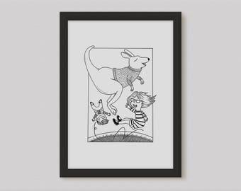 Kangaroo art print, black and white, Australian animal, boys gift, girls gift, Giclée A4 Archival Print