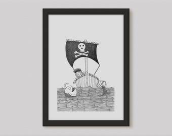 Pirate Print - Sea Print Boys Room Art - Pirate Art - Sea Monster Nautical Art - Pen and Ink Print Boys Wall Art - Kids Decor - Kids Art