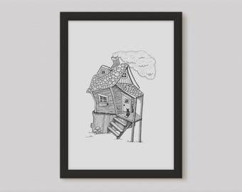House Illustration - Rustic Art - House Warming Gift - Rustic Home Decor - Spooky House - Wall Decor - Quirky Print - Rustic - Art Print