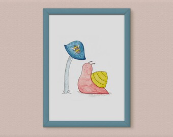 Snail Illustration - Garden Decor Gift for a Girl - Pastel Decor Snail Gift - Insect Illustration Garden Print - Snail Bee Print - Quirky