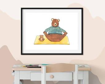 Yoga Wall Art - Woodland Prints Bear - Best Yoga Gift For Yoga Mum - Boho Chic Nursery - Yoga Decor Bedroom - Yoga Art for Gift - Yoga Print