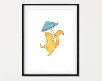 Woodland Print Squirrel Gift - Woodland Nursery decor - Squirrel Print Art - Woodland Creatures Nursery Decor - Squirrel Wall Art